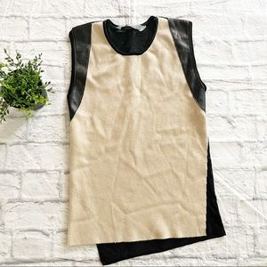 Reed Krakoff Cashmere Leather Sweater Tank Small S